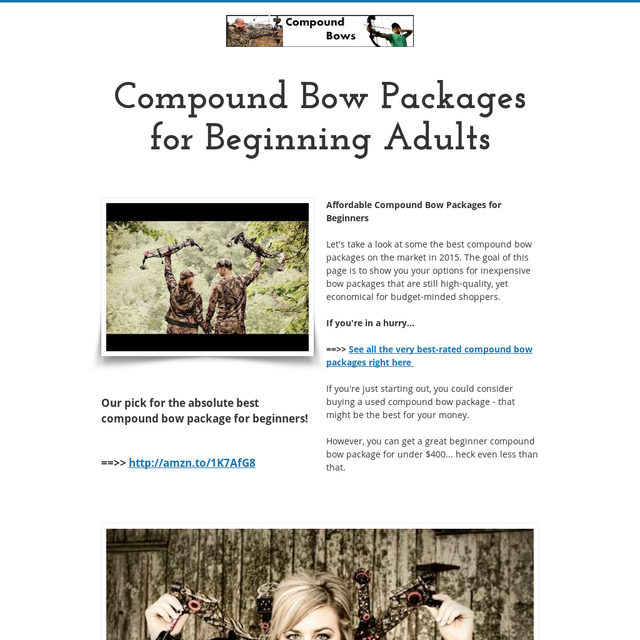 Compound Bow Packages for Beginning Adults