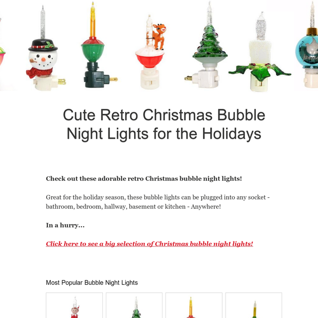 cute retro christmas bubble night lights for the holiday season