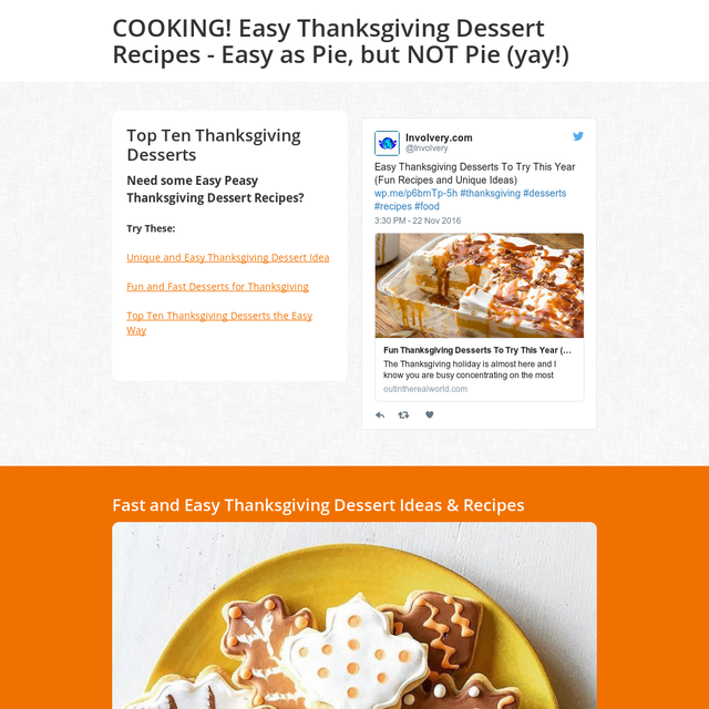 COOKING! Easy Thanksgiving Dessert Recipes - Easy as Pie, but NOT Pie (yay!)