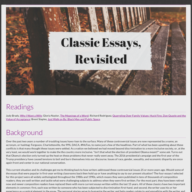 Classic Essays Revisited  Good English Essays Examples also Conscience Essay  Essays On Different Topics In English