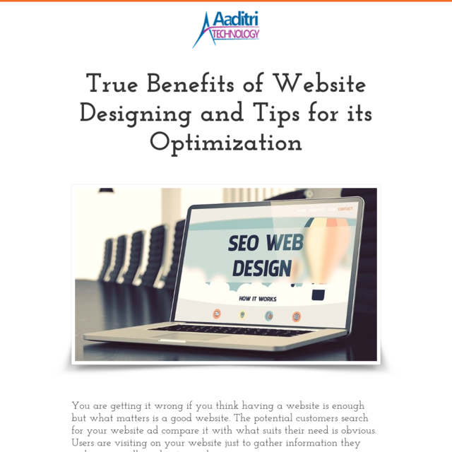 True Benefits of Website Designing and Tips for its Optimization