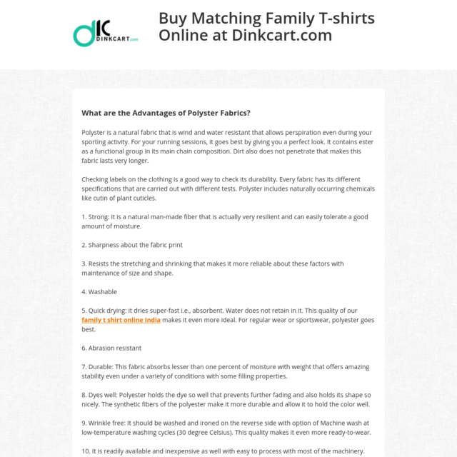 Buy Matching Family T-shirts Online at Dinkcart.com