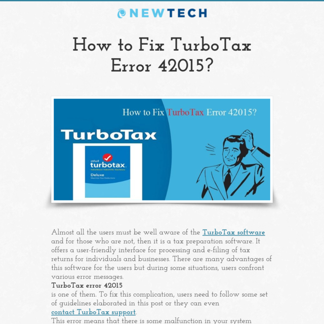 How to Fix TurboTax Error 42015?