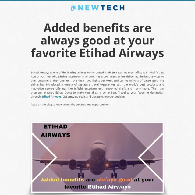 Added benefits are always good at your favorite Etihad Airways