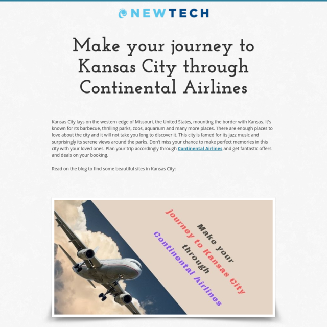 Make your journey to Kansas City through Continental Airlines