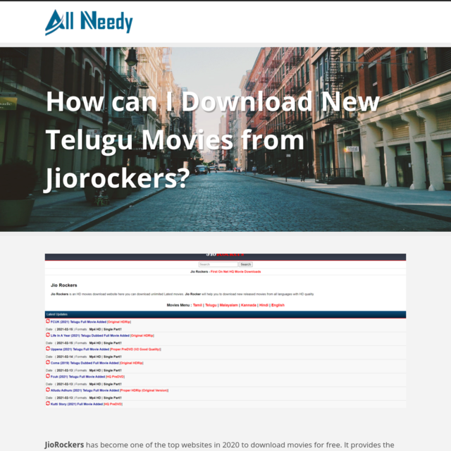 How can I Download New Telugu Movies from Jiorockers?