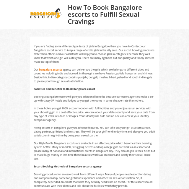 How To Book Bangalore escorts to Fulfill Sexual Cravings