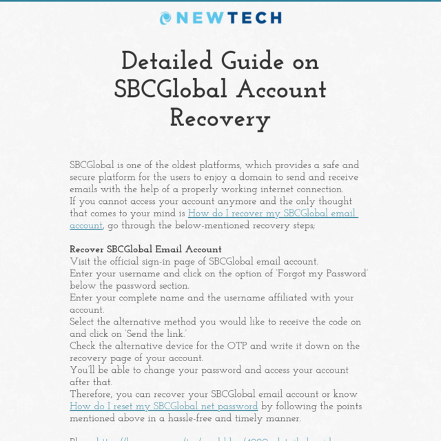 Detailed Guide on SBCGlobal Account Recovery